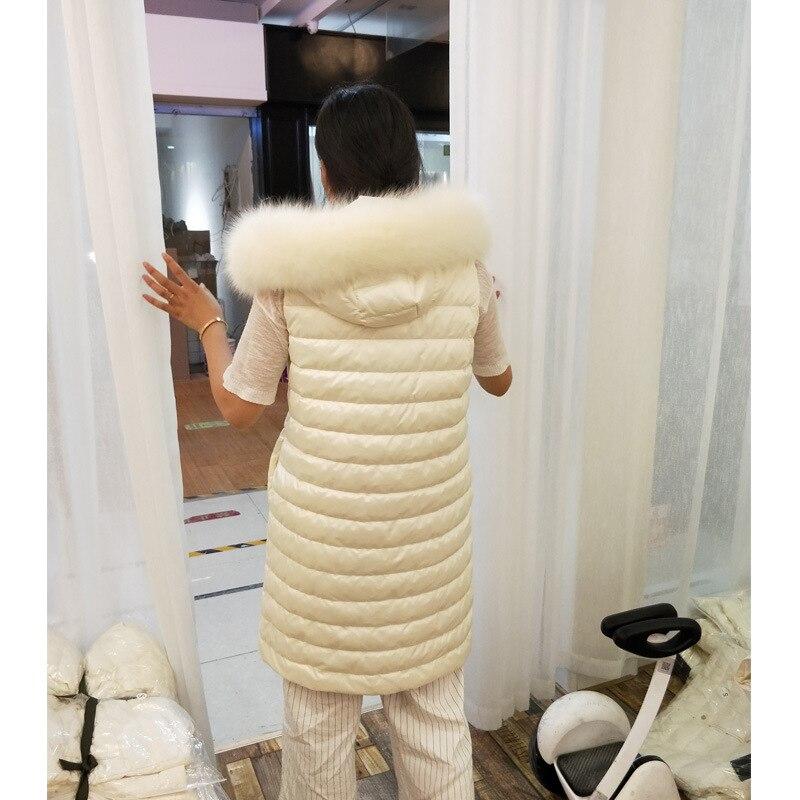 Natural Fur Winter Down Coats Women Sleeveless Hooded Ultralight White Duck Down Jacket Ladies Wadded Coat Females Long Parkas