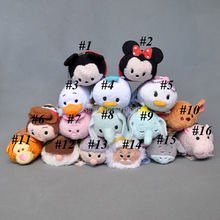 Free Shipping 1PCS Genuine Mickey Minnie Mouse Donald Duck Daisy Woody  Elephant Pig Tsum Tsum Plush Toys Cleaner Kids Gifts 3""