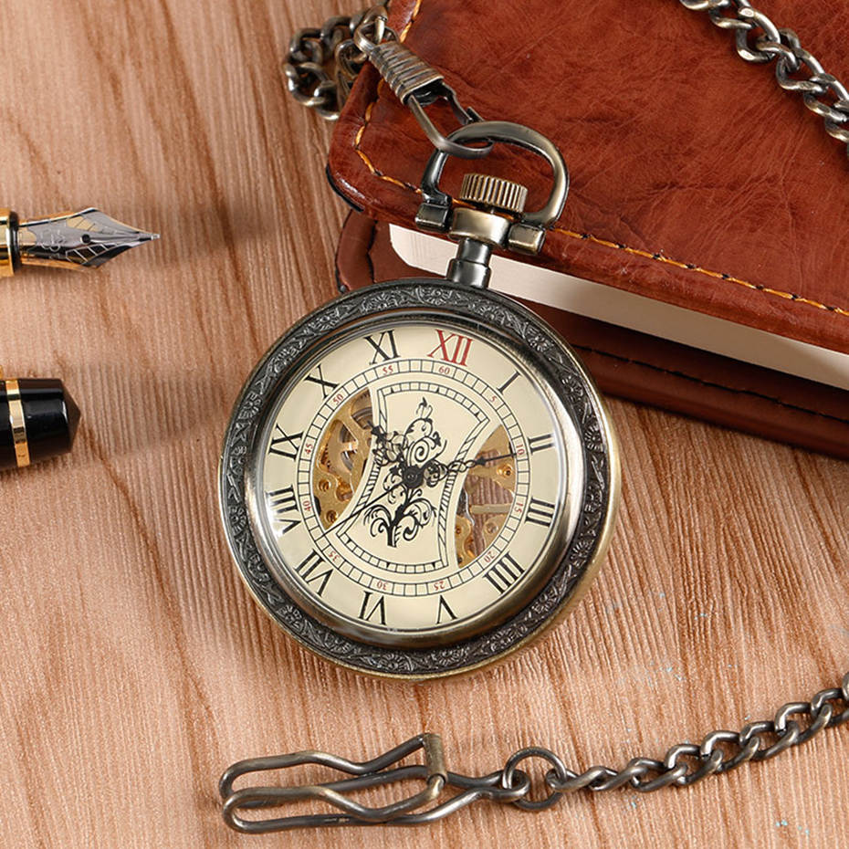Bronze Mechanical Pocket Watch Open Face Tree Pattern Roman Numbers Clock Hand Winding Fob Watches Men Gift  (2)