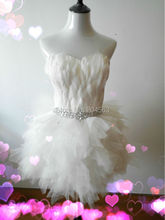 Hot Sale Sweetheart Knee Length Wedding Dresses Charming vestido de noiva with Feather