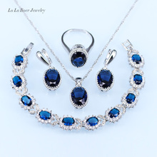 L&B Romantic created Garnet Jewelry Sets Silver Color Round Crystal Bracelet/Pendant/Necklace/Earrings/Ring For Women