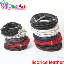 OlingArt 3mm 2M Multicolor Round Genuine Braided Leather Cord women earrings Bracelet choker necklace wire DIY jewelry making
