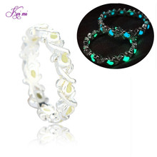 New Chic Glow in Dark Luminous Fluorescent Spiral Ring For Women Night Light Silver Plated Night Bar Party Jewelry