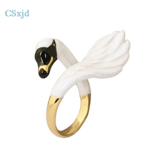 CSxjd Copper design Gold color Rings Luxury exquisite Cute White Swan enamel rings fashion hyperbole ring(China)