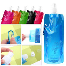 Portable Folding Collapsible Plastic Outdoor Sports Water Bottle Running Hiking Water Bottles(China)