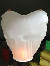 100pcs/lot White Heart shape china sky lantern flying lantern paper lantern for Brithday Wedding Party