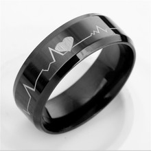 2017 New Fashion Personality Jewelry Mens Ring Stainless Steel Black With Heartbeat Laser Etched Band Ring 368854
