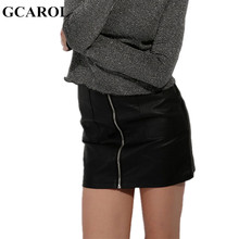 GCAROL Women Zipper Up Faux Leather Skirt Polyester Lining Fashion Sexy PU Mini Skirt With Two Pockets High Quality For 4 Season