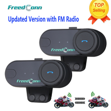 Free Shipping!!Updated Version !! 2PCS Original T-COMVB BT Bluetooth Motorcycle Helmet Intercom Interphone Headset with FM Radio