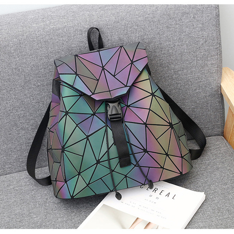 Nevenka Luminous Backpack Women Leather Geometric Backpacks Diamond Lattice Backpack Travel Girls Casual Daypacks Fashion 201802