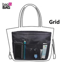 Black Organizer Bag with Multi-Pockets Purse Organizer Bag with Compartments Handbag Inserts Compartment Separators(China)