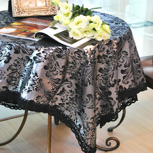 Lace Table Cloth Black&Sliver Europe Cotton&Linen Luxurious Noble Table Cover Wedding Cover Table Toalha De Mesa Tablecloth