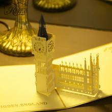 Foldable Vintage Big Ben 3D Pop Up Greeting Cards Creative Gifts Postcard Happy Birthday Cards Wishes Gifts