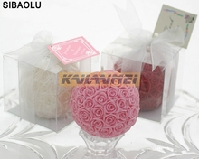 10pcs Bridal Wedding Favors 7*7*7cm Rose Ball Candle Party Valentine's Gifts Box Package Holiday gifts