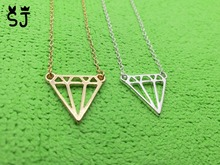 1PCS Fashion Flat Triangle Necklace Dainty Cut Out Subulate Necklaces Geometric polygon Layering Triangle Necklace