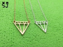 1PCS Fashion Flat Triangle Necklace Dainty Cut Out Subulate Necklaces Geometric polygon Layering Triangle Necklace(China)
