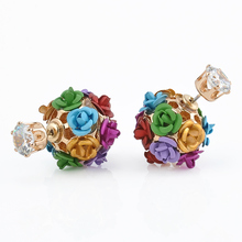 Celebrity Runway Ball-flower Double Pearl Beads Plug Earrings Ear Studs Pin Earring Jewelry Free Shipping