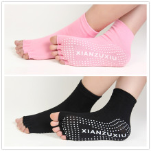 Women Yoga Socks Half Toe Non Slip Ladies Massage Sport Socks Half-fingers Cotton Warm Exercise Running Hose