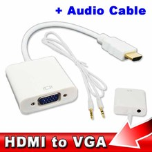 Video Converter HDMI Male to VGA RGB Female Converter Adapter With Audio USB Cable 1080P for PC Wholesale