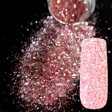Sparkle Rose Red Glitter Nail Art Mix Size and Color Glitter DIY Manicure Decoration Powder Transparents Nail Salon Products 255(China)