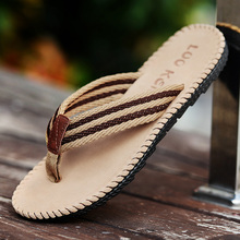 2017 Summer Cool Men Slippers Sandals Beach Slippers Weave Of Cloth Comfortable Fashion Slippers Men Flip Flops Plus Size 45