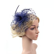 Women Flower Feather Net Hat Mini Hair Clip HairPin Headwear for Wedding Party Banquet Decoration