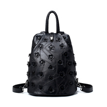 2017 Fashion Floral Women Backpack High Quality Leather Female Back Pack Black Unique Student School Bag mochila feminina(China)