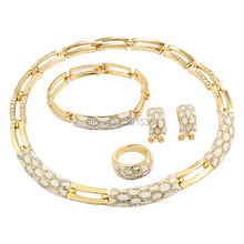 TOP Quality Enamel Snake Skin Pattern Italy  Golden Plated Jewelry Sets  Necklace&Earrings&Ring&Bracelet Set Free Shipping
