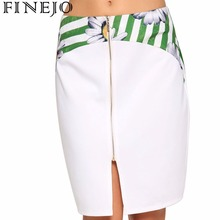 FINEJO Floral Print Front Zipper Splicing Pencil Skirt Summer Stylish Women Hip Package Slim Mini Sheath Skirt Plus Size S-XXL