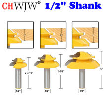"1/2"" Shank 45 Degree Lock Miter Bit 3 pc.Glue Joint Set Woodworking cutter Tenon Cutter for Woodworking Tools"
