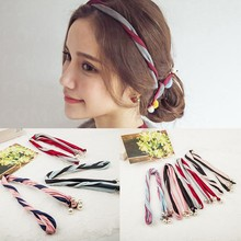 Korean version fabric pearl twine colorant match twisted Hair band Hair Sticks iron wire Headband Headdress accessories SPD-811