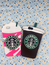Hot Sale 3D Cartoon Silicon Starbuck Coffee Cup Case Cover For iPhone 4 4S&5 5S & SE & 6 6S Plus & 7 7 Plus Mobile Phones