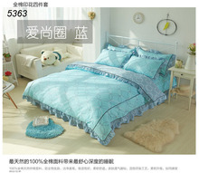 Korean King princess bedding sets 4pcs linens 100% cotton Korea queen bedding set flouncing bed clothes orange dots 5363