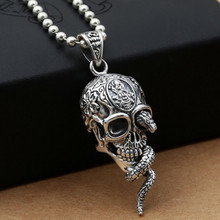 2017 New Hiphop Punk Rock Cobra Skull Pendant 100% Real 925 sterling silver for women men Necklace Pendant Gift fine jewelry G17