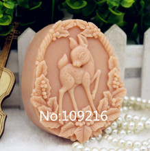 New Product!!1pcs Sika Deer (zx182) Silicone Handmade Soap Mold Crafts DIY Mould(China)