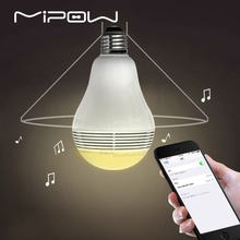 MIPOW Bluetooth Light Shape Speaker, PLAYBULB Lite Smart LED Lights, Wireless APP Control Lamp Audio for iPhone 7/8 Andriod E27(China)