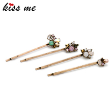 KISS ME Charming Retro Barrettes for Girls New Design Alloy Flowers Hair Accessories Fashion Jewelry