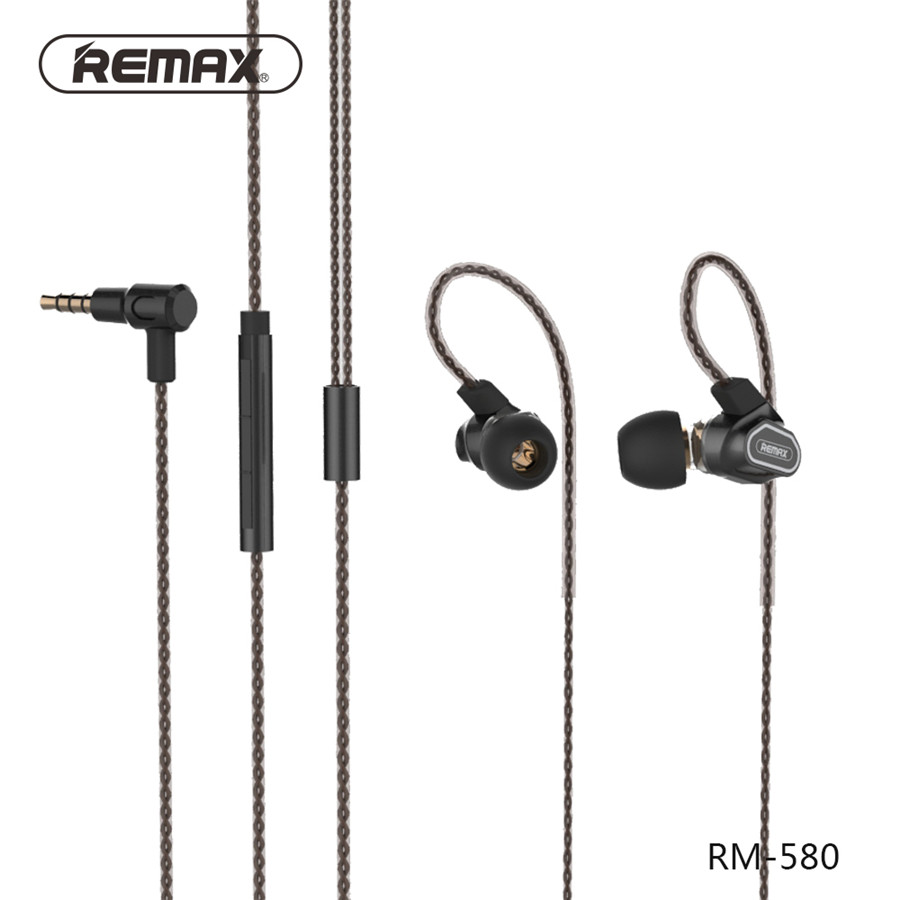 Remax RM-580 Daul Moving-Coil HiFi Wire Earphone Stereo Super Sound Headphones With Mic Stereo Music Phone Headset For Cellphone<br>