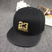 Brand snapback hats Wholesale 23 Iron women baseball caps New Pattern cotton Net Flat Cap leather PU couple Hip-hop Cap man Hats(China)