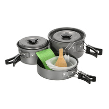 12 PCS Outdoor Cookware Set Pot Pan Camping Cook Set Compact Cooking Backpacking Cook Kit Ladle Bowls Spatula Cleaning Sponge(China)