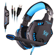 NYGUE 3.5mm Wired Gaming Headset Stereo HIFI Headphone Over Ear Gamer PC Game LOL CF CS Big Earphones With MIC LED Light G2100(China)