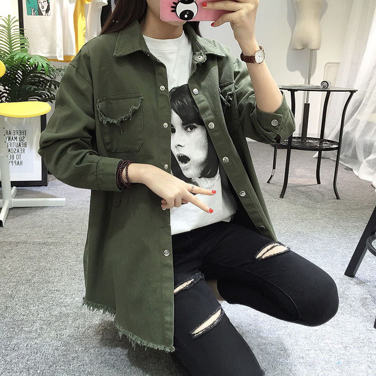 2018 Spring Autumn New Long Section Lapel Tassel Denim Jackets Women Loose Casual Long Sleeve Female\'S Thin Basic Jacket Coats (21)