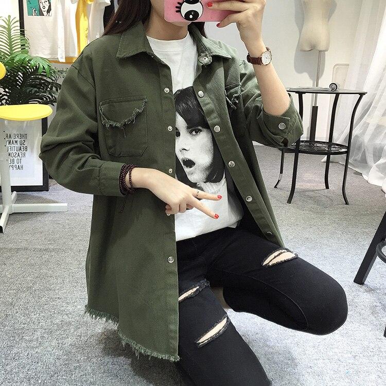 2018 Spring Autumn New Long Section Lapel Tassel Denim Jackets Women Loose Casual Long Sleeve Female\'S Thin Basic Jacket Coats (21)