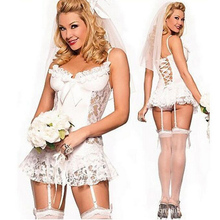 Sexy Underwear Sets Lace Bride Wedding Dress Sexy Lingerie Perspective White(China)