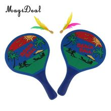 MagiDeal 1 Set Beach Ball Paddles / Rackets, Wooden Tennis Badminton Racquet For Kids / Adults --- Backyard, Garden Toys / Game(China)