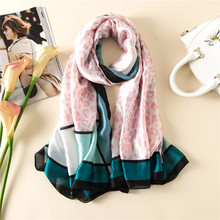 Visual Axles 2017 New Fashion Women Twill Pure Silk Scarf Luxury Brand Neon Pink Leopard Long Soft Foulard Shawls Scarfs