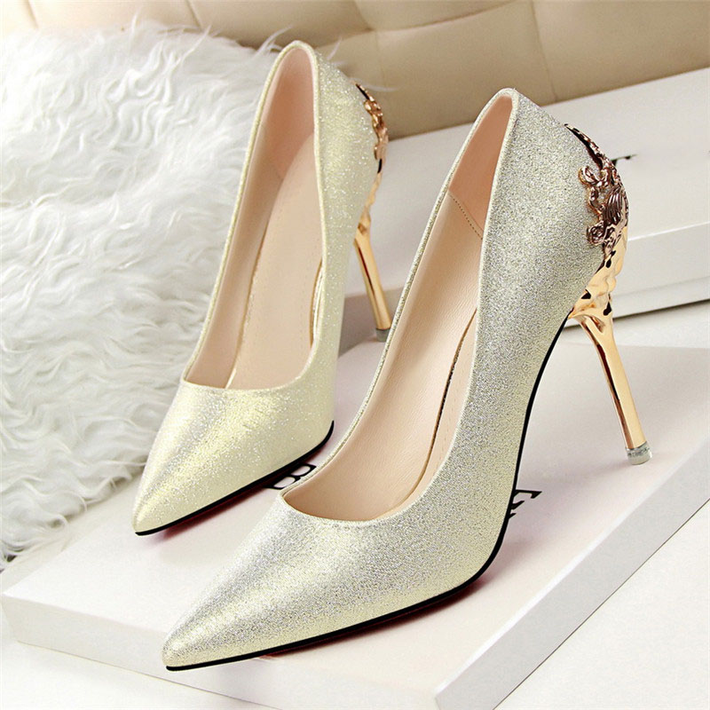 Sexy High Heels Shoes Woman Pumps Red Gold Silver High Heels Shoes Woman Ladies Wedding Party Shoes 2018 5