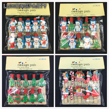 1pack Merry Christmas Tree Santa Clause Snowman Office Supplies Photo Craft Clips DIY Clothes Paper Peg Party Decoration(China)