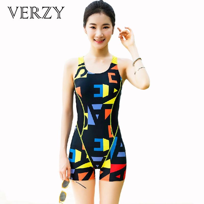Verzy 2017 One-piece Swimsuit Women Hollow Back Geometric Flat Bottom U-Neck Bathing Suit Bright Monokini Students Bodysuit<br>
