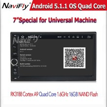HD 1024X600 Android 5.1 Quad Core 16GB Flash Universal Double 2 din 2Din Car dvd player Stereo GPS Navigation Radio DDR3 3G Wifi